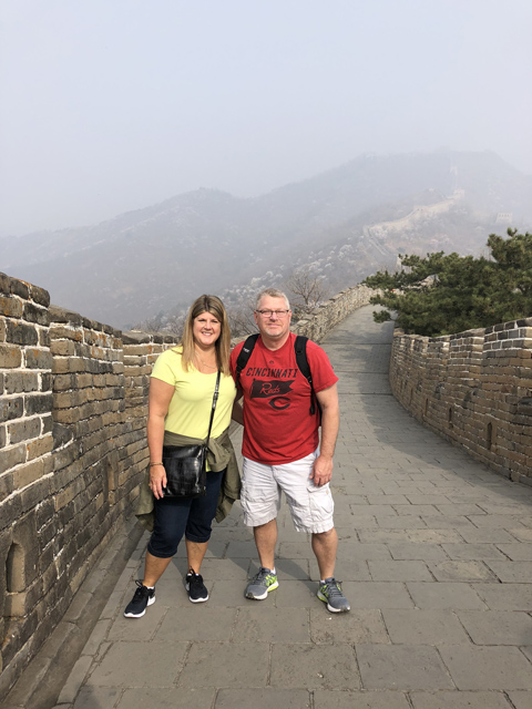 Anita and her husband at The Great Wall
