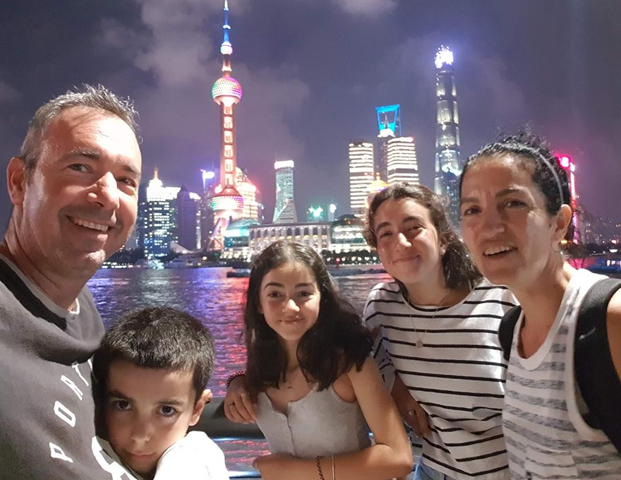 Rubi and his family in Shanghai