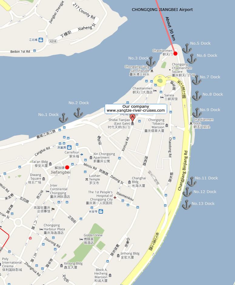 5 Star Luxury River Cruises Through Eurooe: Detailed Map Of Chongqing Chaotianmen Port