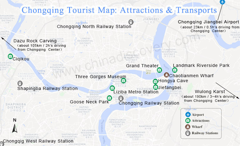 Chongqing Attractions Map