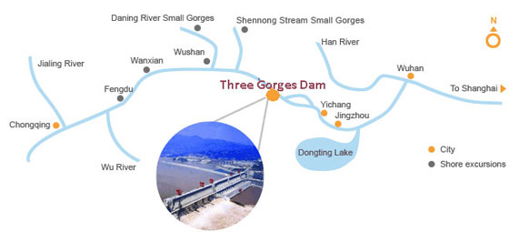 The Three Gorges Dam Location Map