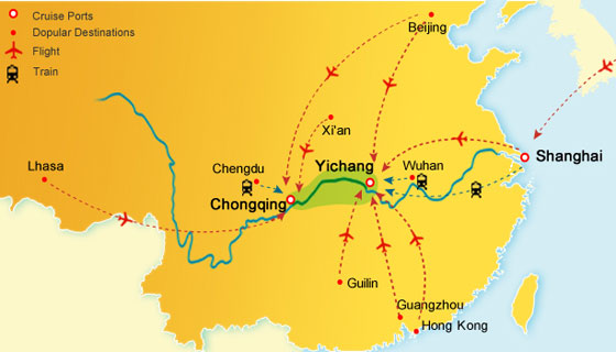 Chang jiang river on world map