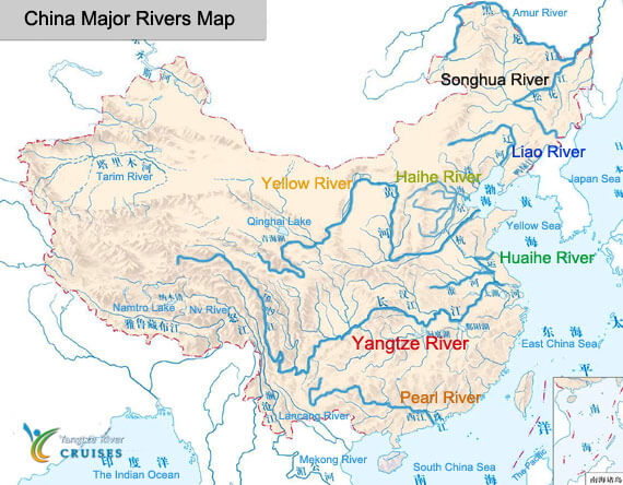 China River Map China River Maps 2019, Maps of Major Rivers in China