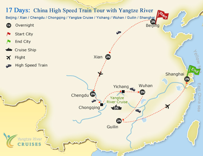 17 Days China High Speed Train Tour with Yangtze River