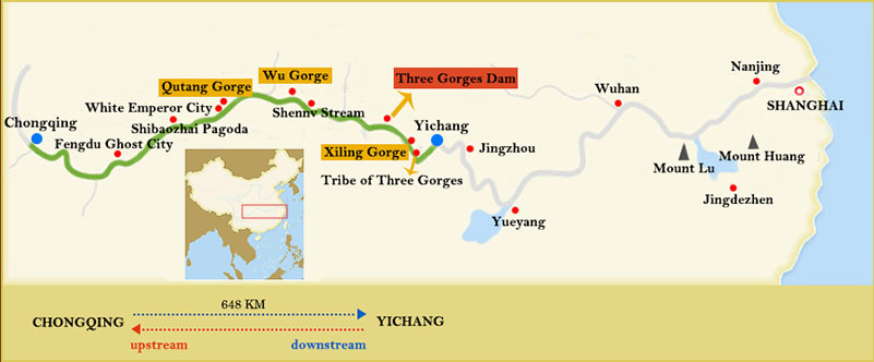 Century Cruises Chongqing Yichang Route Map
