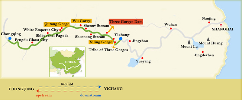 Changjiang Cruises Chongqing Yichang Map
