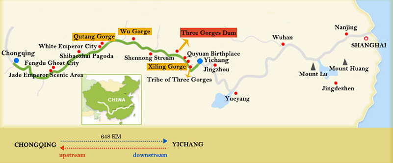 President Cruises Chongqing Yichang Map