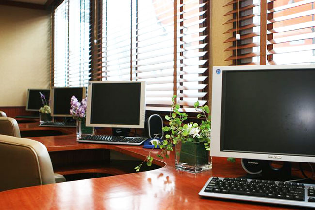 Business Center with International Phone calls, faxes, and internet access on board.