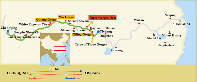 Victoria Cruises Chongqing Yichang Route Map