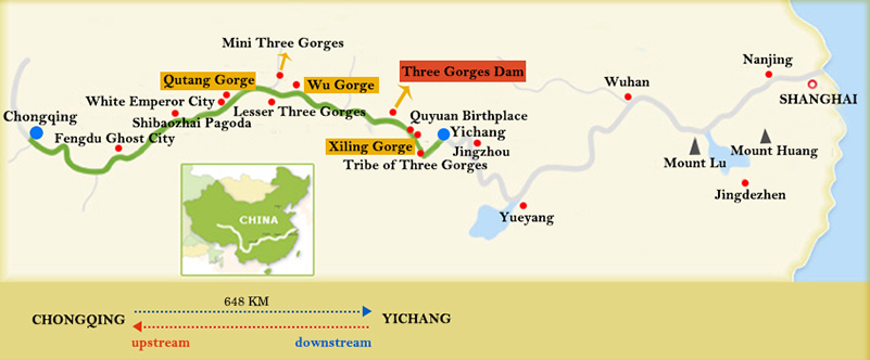Yangtze Gold Cruises Chongqing Yichang Map
