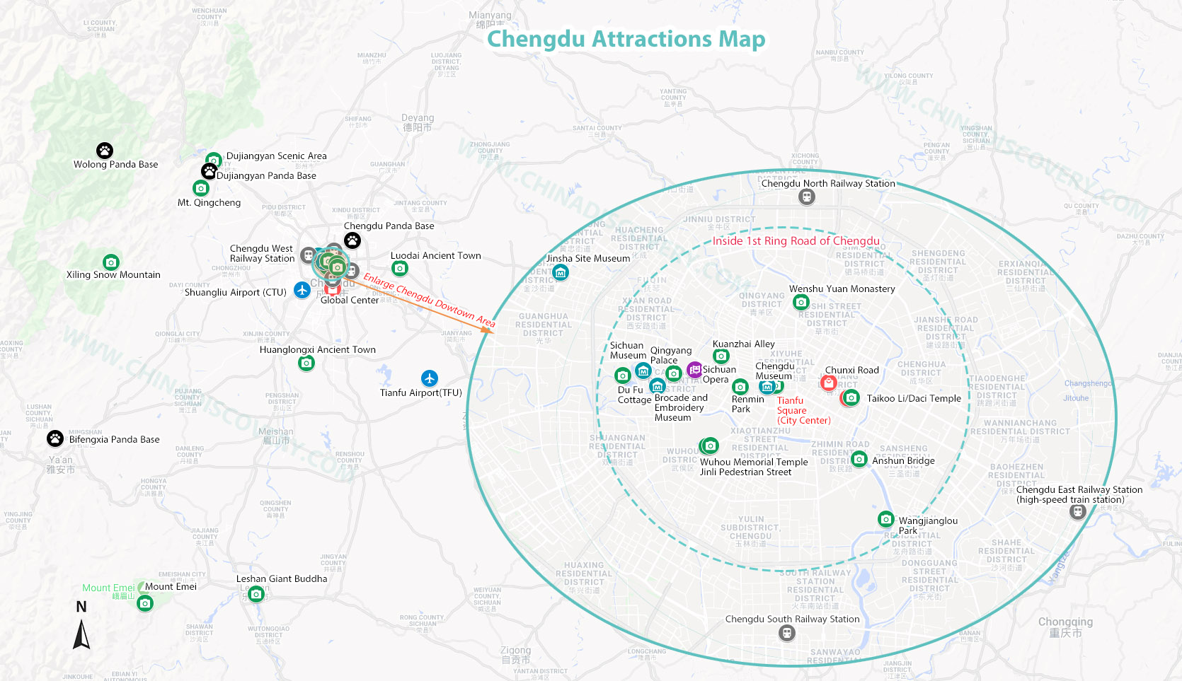 Chengdu Attractions Map