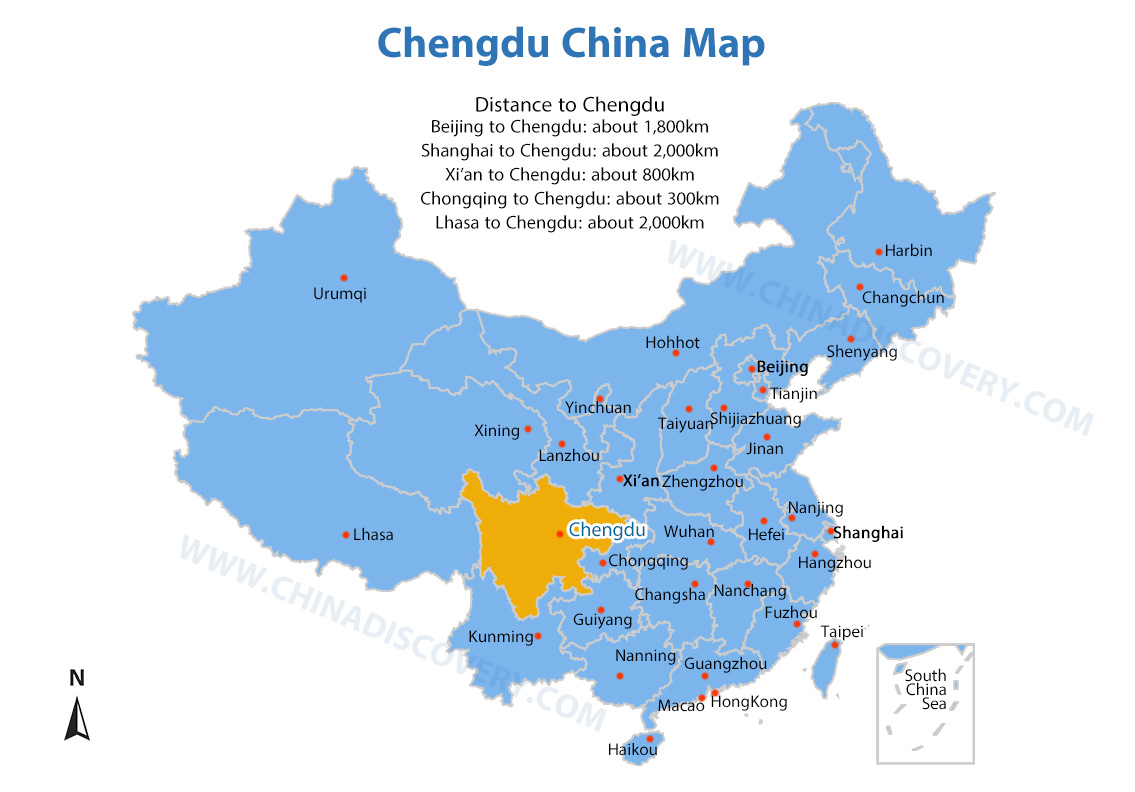 Chengdu China Map