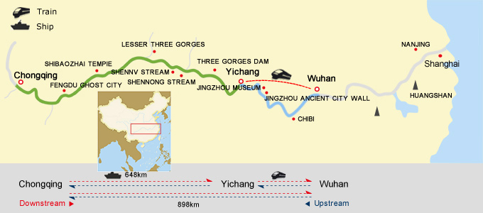 Wuhan Chongqing Cruise Map