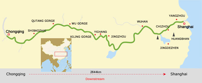 Chongqing to shanghai Cruise Route Map