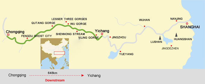Chongqing to Yichang Cruise Route Map