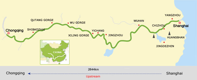 Shanghai to Chongqing Cruise Route Map