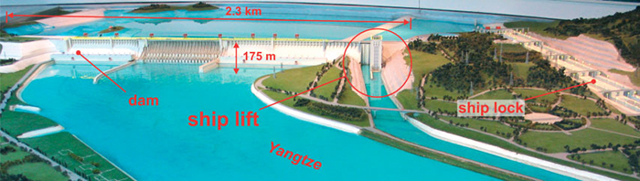 Map of Three Gorges Dam Ship Lift