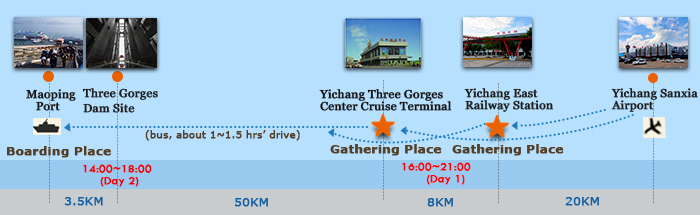 Map of Yichang Chongqing for Three Gorges Dam Ship lift