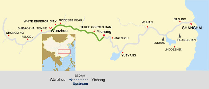 Wanzhou to Yichang Cruise Route Map