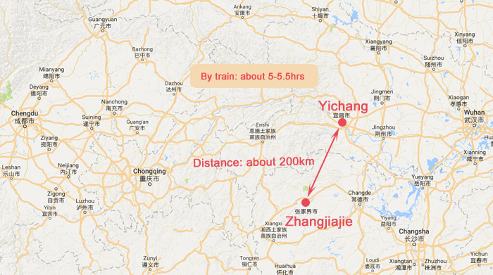 Yichang to Zhangjiajie - Yichang Zhangjiajie Distance Map