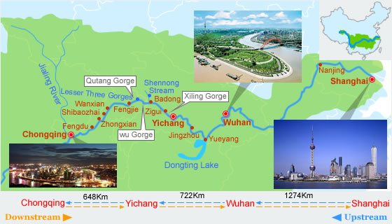 Map of Yangtze River Cruise Route